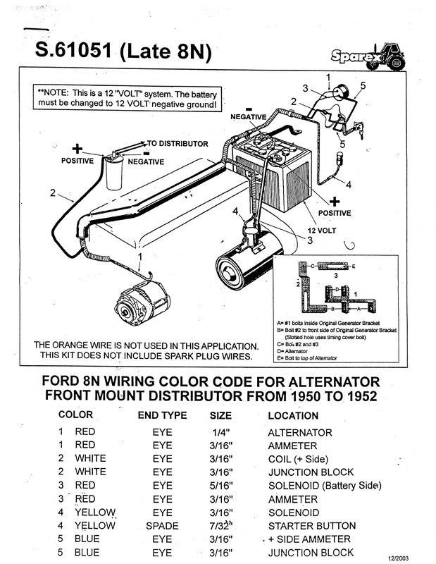 8n Ford Tractor Electrical Diagram : Ford n wire alternator diagrams autos post