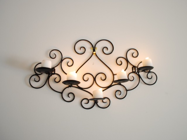 Wrought Iron Candle Sconce Holder Wall Decor Black Color ... on Black Wrought Iron Wall Candle Holders id=62414
