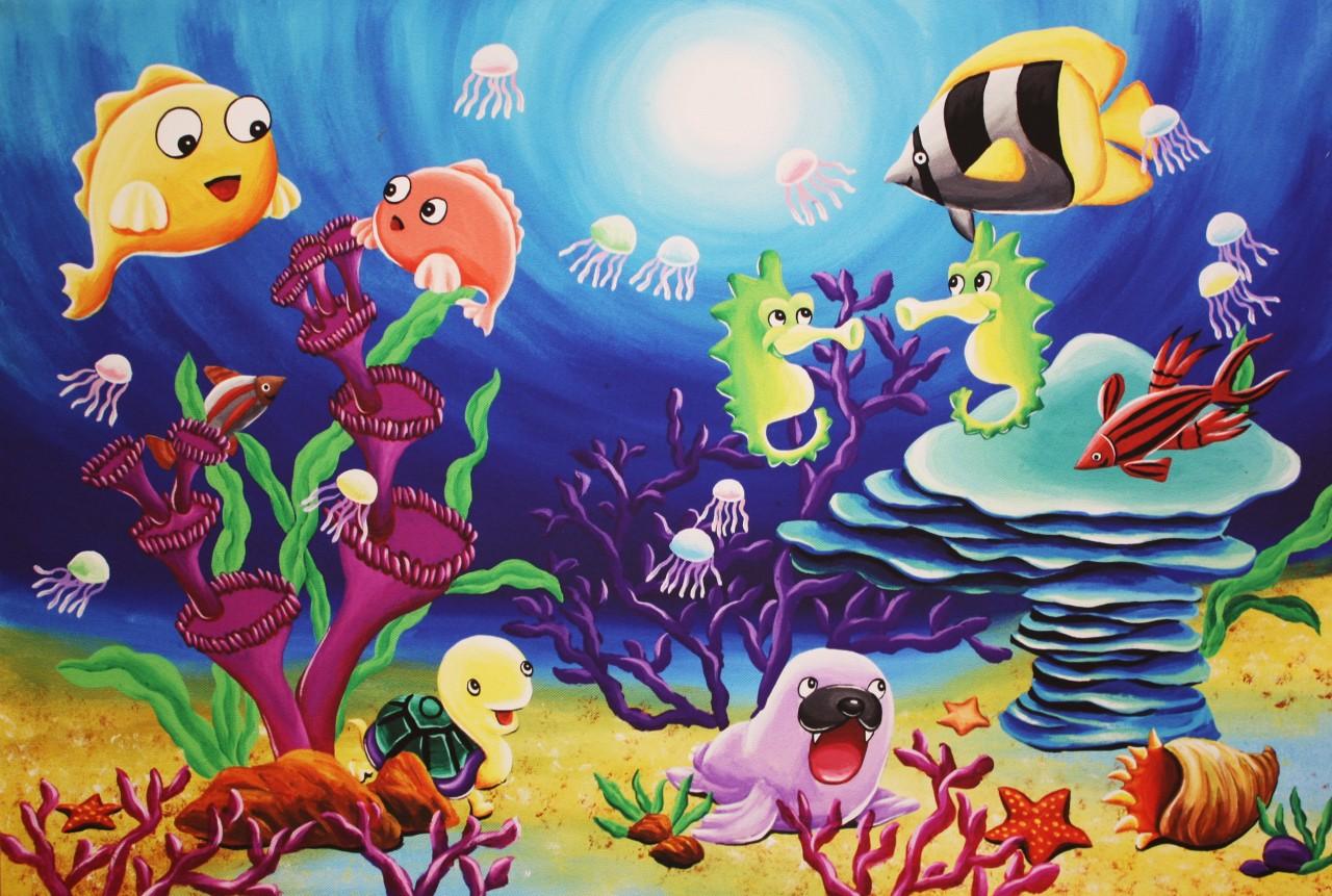 Large Original Prints On Canvas Sea Animals Childrens