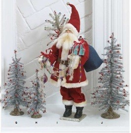 Large Santa Claus With Silver Tinsel Christmas Tree 32 In