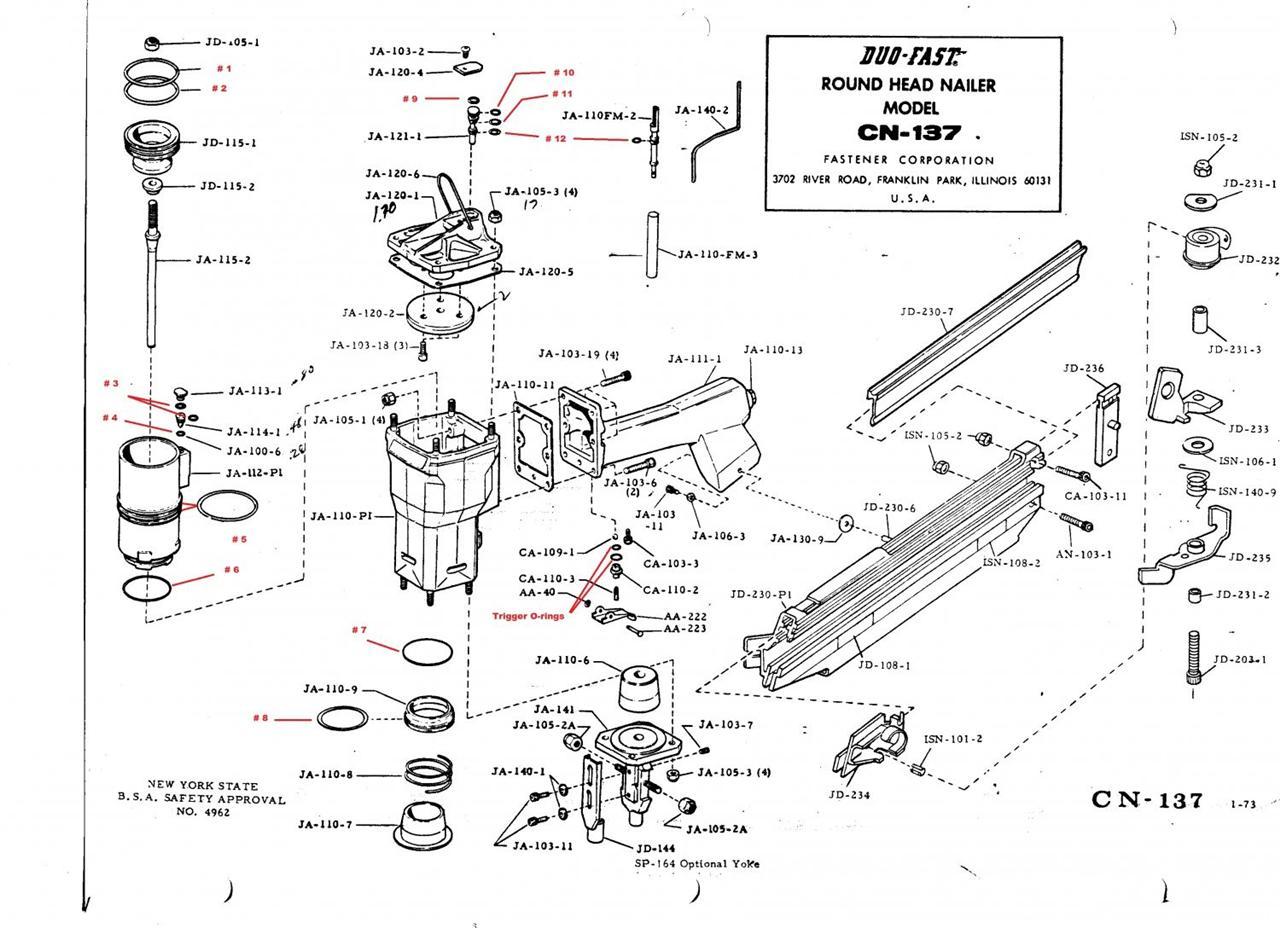 Duo Fast Cn137 Nail Gun O Ring Rebuild Kit For The Cn 137