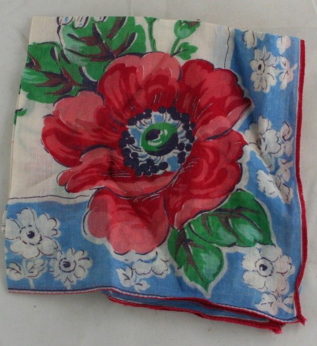 vintage handkerchief, cotton, floral print