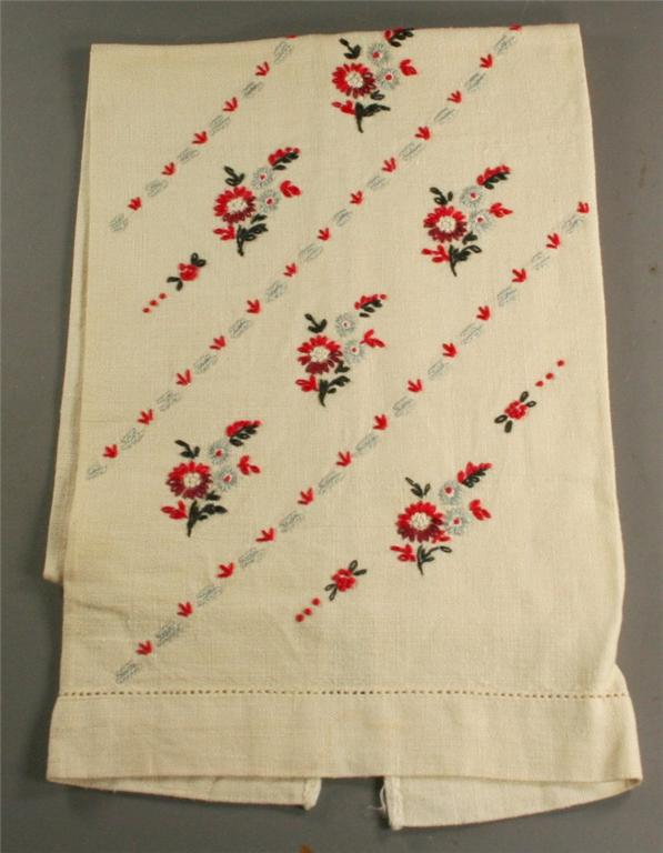 vintage hand towel, embroidered, hand embroidered, linen