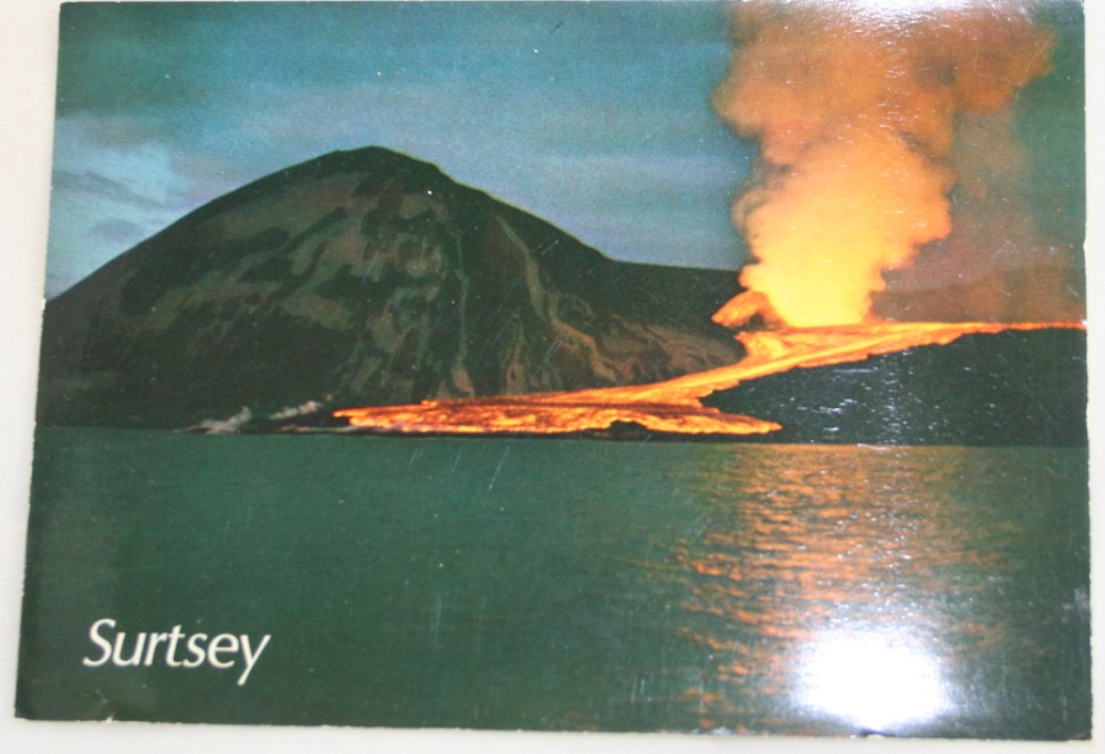 vintage postcard, international cities towns, Iceland, Surtsey