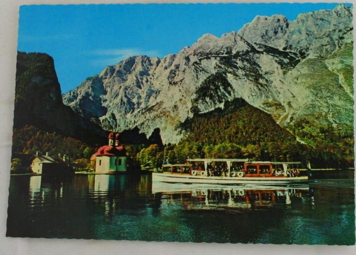 vintage postcard, St Bartholomae, Koningssee, Bavaria, Germany
