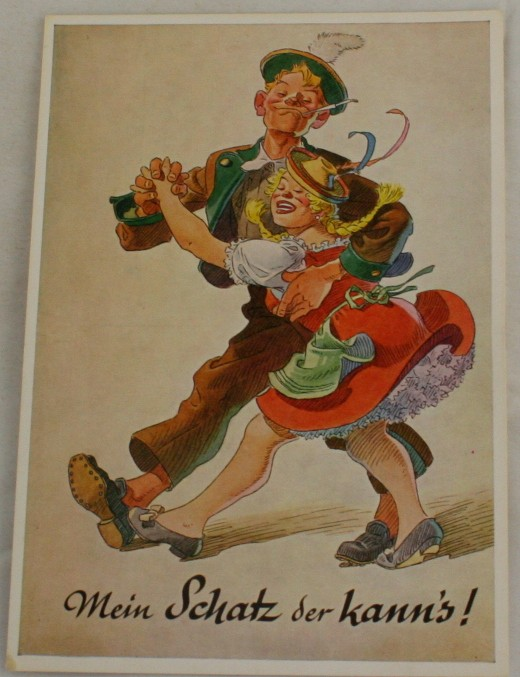 vintage postcard, Germany, comic