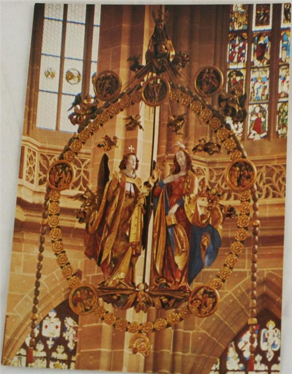 vintage postcard, Germany,  Nurnberg, Bavaria, The Annunciation, St Lorenz Church