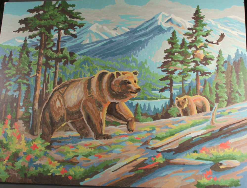 vintage paint by number, completed, finished, grizzley bear, stream, fishing, mountain