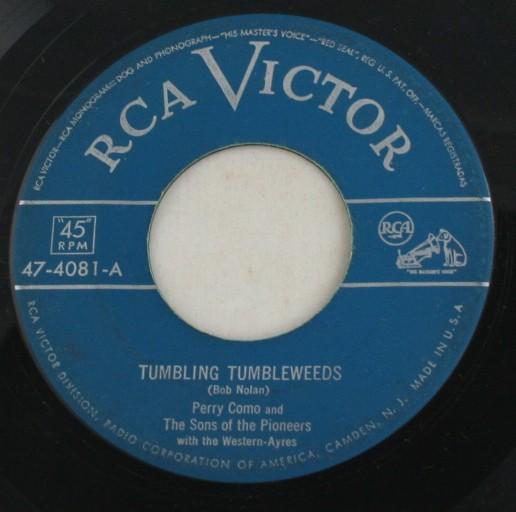 vintage record, Perry Como, Tumbling Tumbleweeds, RCA Victor Records, 45, vinyl
