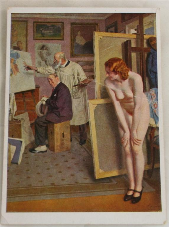 vintage postcard, Germany, Munich, House of German Art, Adolf Reich, nude