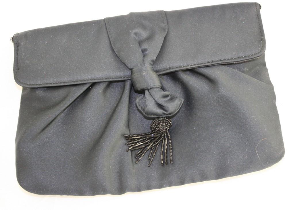 evening bag, black, Magid, Beaded Tassel