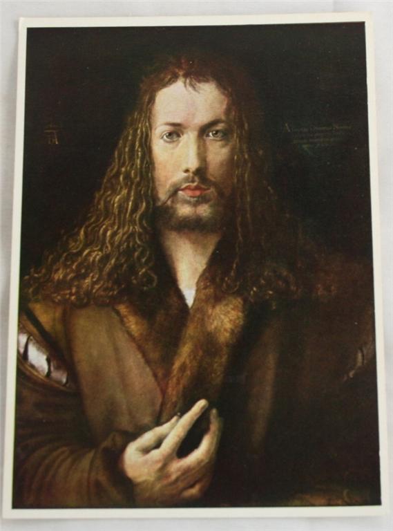 vintage postcard, art, Albrecht Durer, Self Portrait