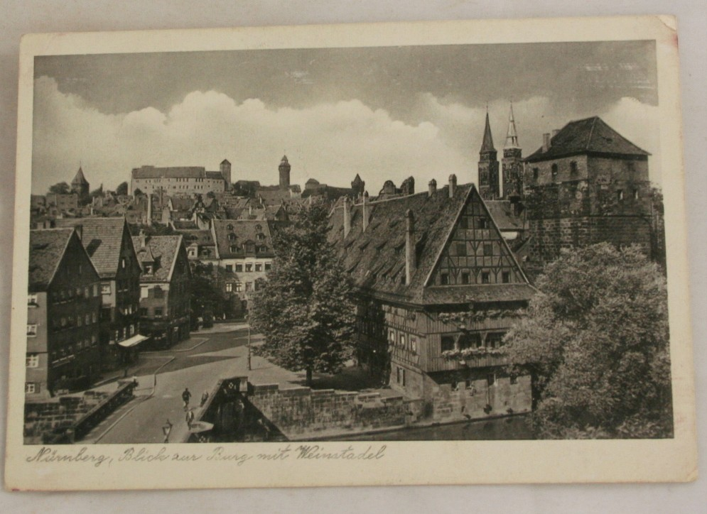 vintage postcard, Germany, Nurnberg, town view, view of castle