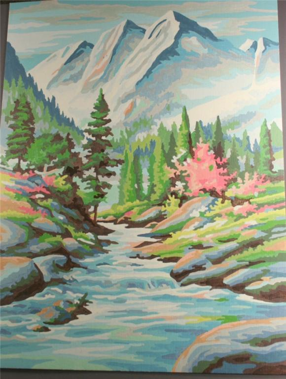 vintage paint by number, completed, majestic mountain, stream, forest