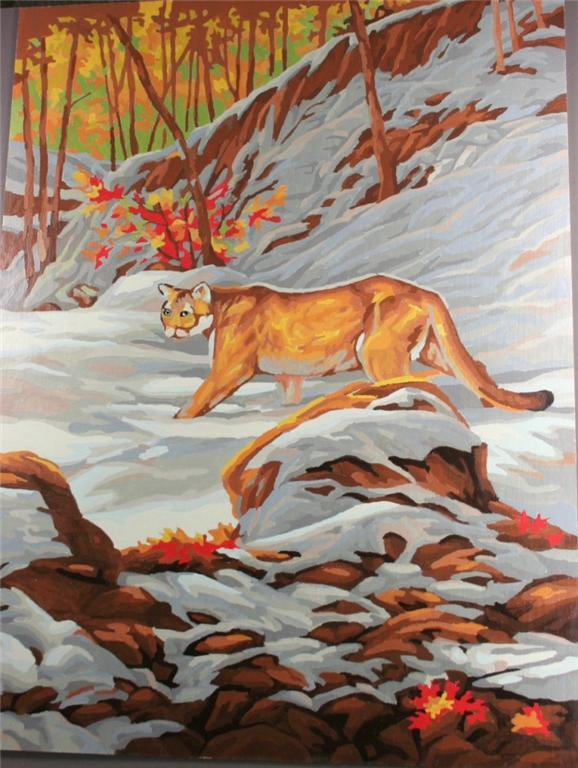 vintage paint by number, completed, cougar in snow