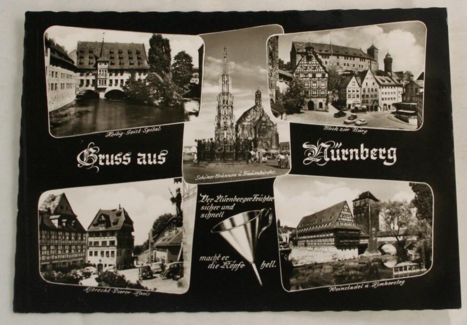 vintage postcard, black and white, views of Nurnberg