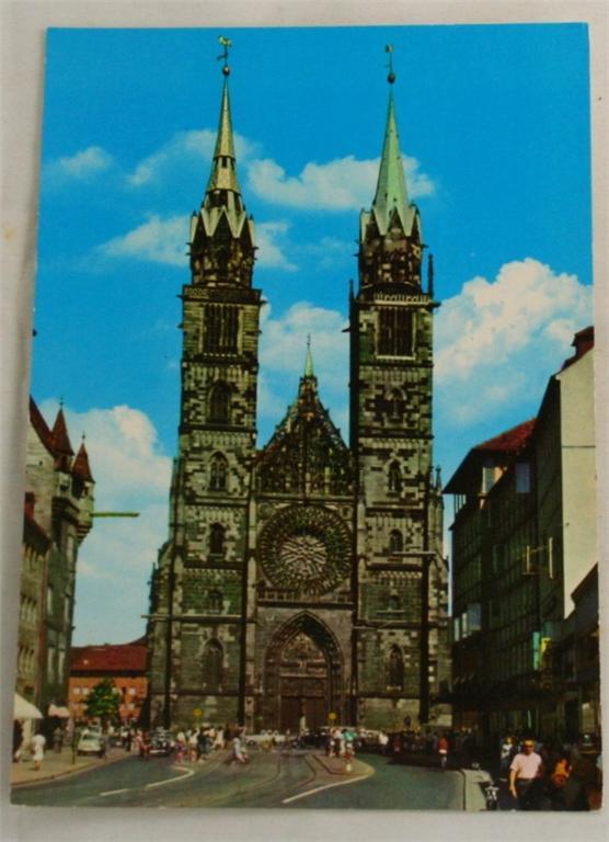 vintage postcard, Nurnberg, St Lorenz church