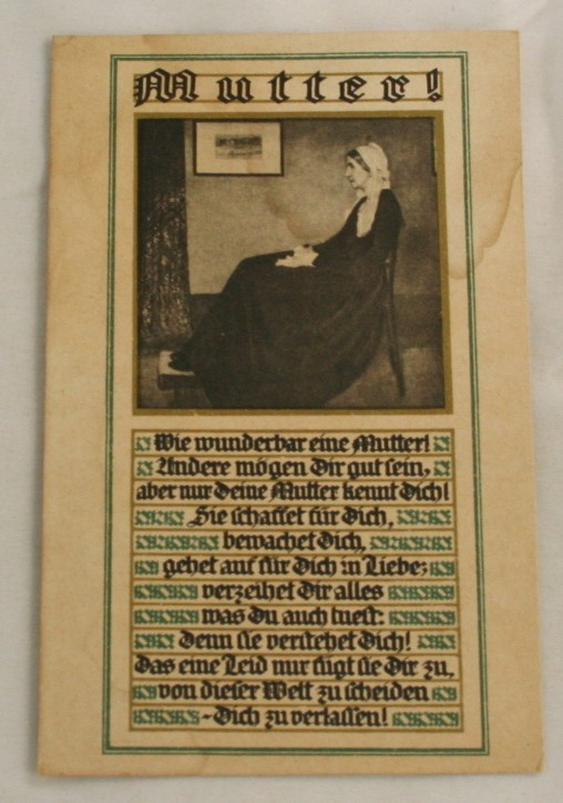 vintage postcard, poem, Whistler's Mother, German
