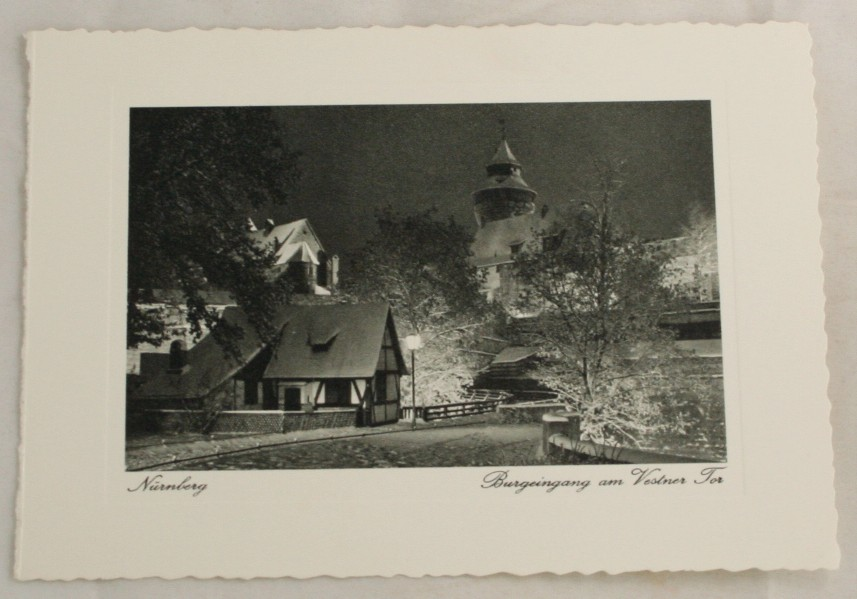 vintage card, photo print, Nurnburg, View of Tower