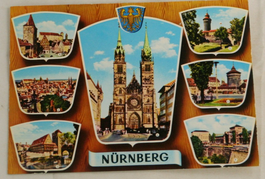 vintage postcard, vintage postcard, color, views of Nurnberg