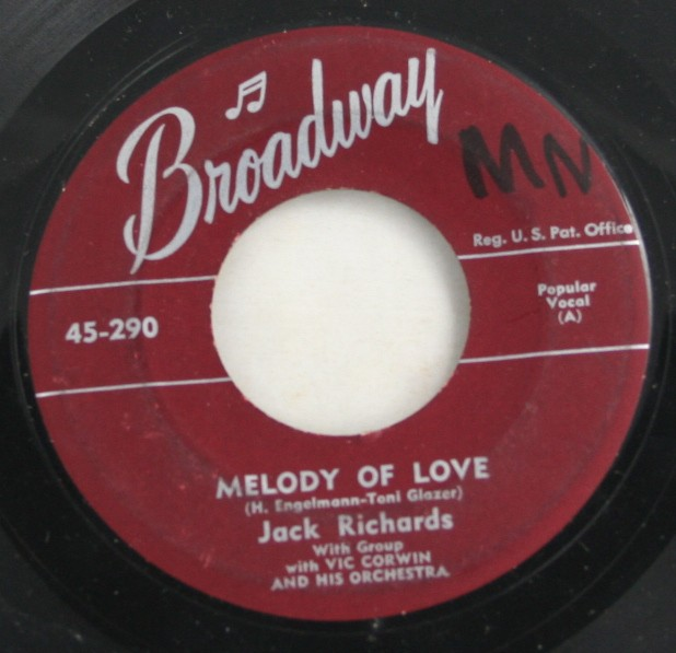 vintage record, vinyl, 45, The Julian Sisters, No More, Jack Richards, Melody of Love, Broadway