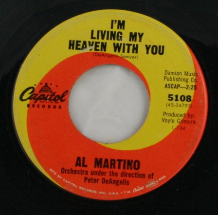 vintage vinyl, record, 45, Al Martino, I'm Living My Heaven With You, I Love You More and More Every Day, Capitol