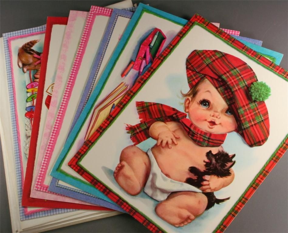 vintage greeting cards, babies, get well, anniversary, best wishes