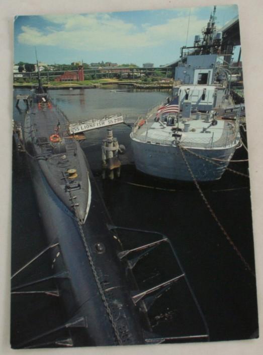 vintage postcard, Massachussets, USS Lionfish, USS Robert F. Kennedy, Jr, Fall River