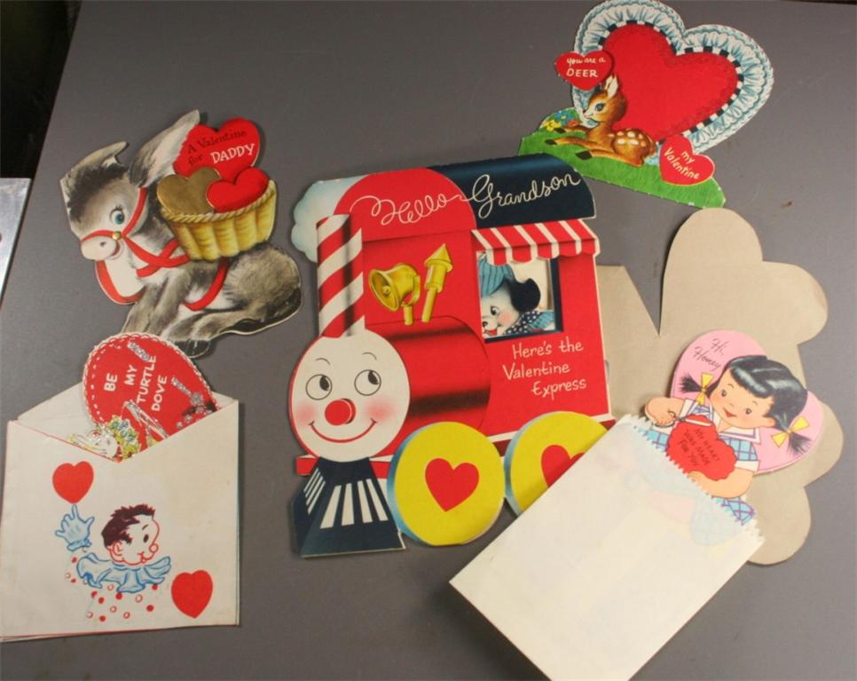vintage paper, valentines, vintage valentines, 1950s