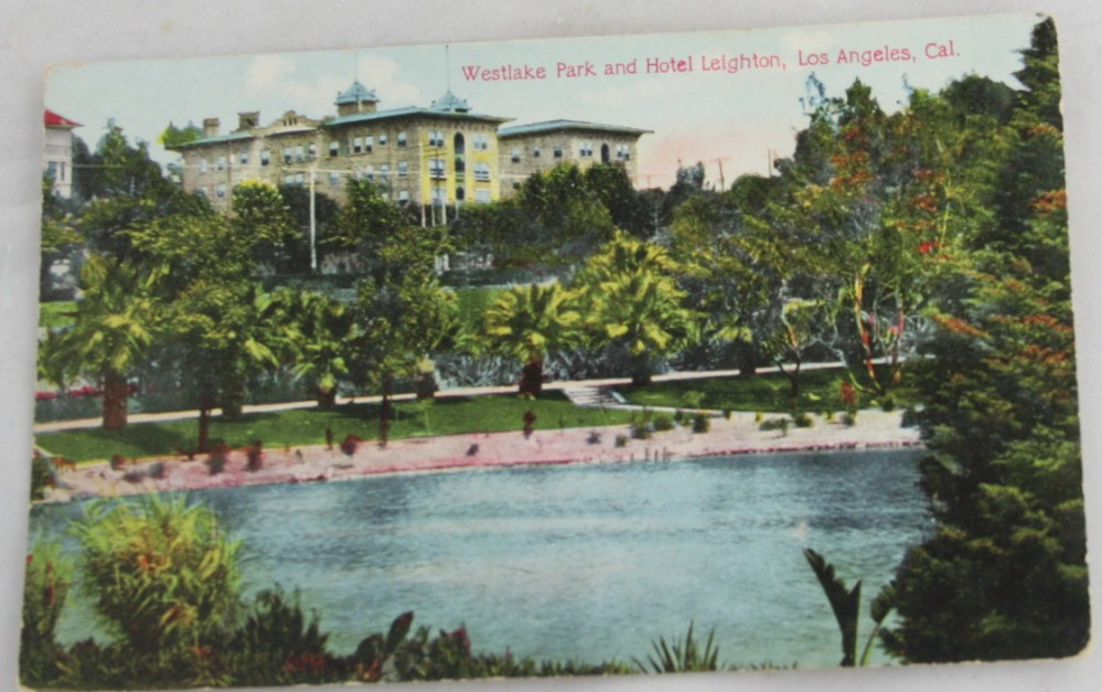 vintage postcard,hand colored,hand coloured,California, Los Angeles, Westlake Park,Hotel Leighton