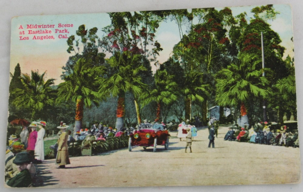 vintage postcard,hand colored,hand coloured,California, Los Angeles,Midwinter, Eastlake Park