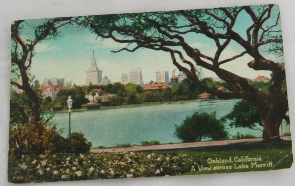 vintage postcard,hand colored,hand coloured,California,Oakland, Lake Merritt