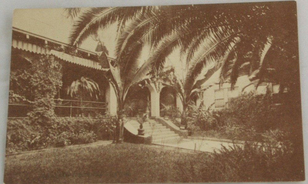 vintage postcard,sepia tone,California,Los Angeles, Alvarado Hotel,patio