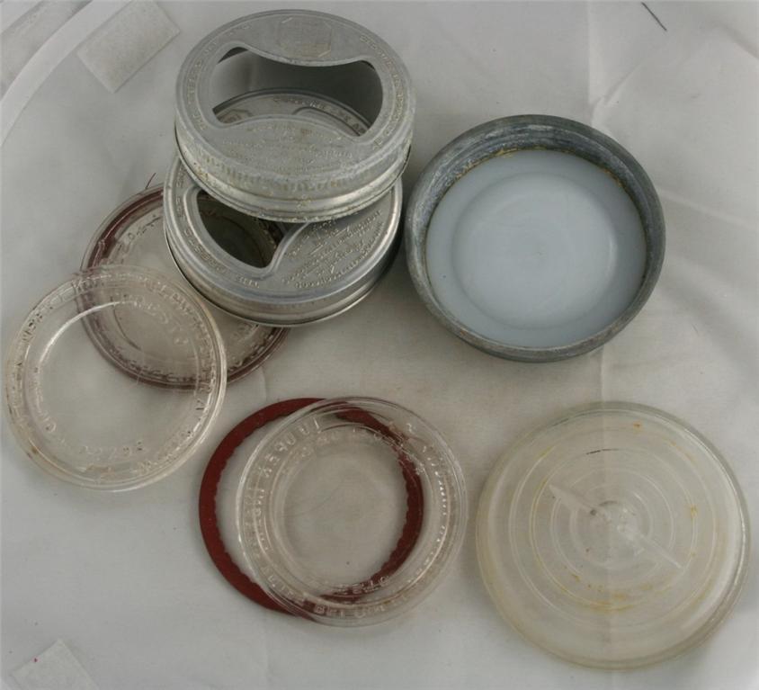 vintage canning jar, lids, bail, glass, aluminum, zinc