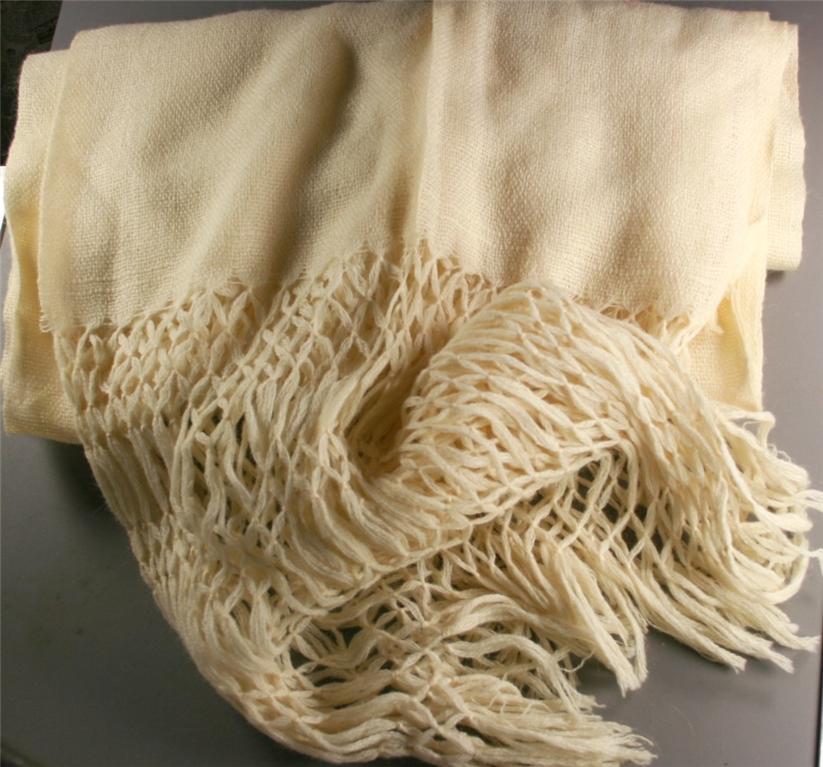 vintage shawl, wrap, wool, white, woven, fringe
