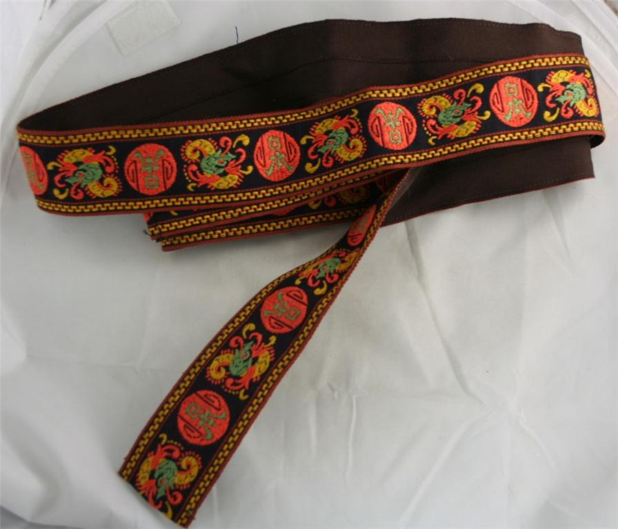 vintage belt, fabric, trim, hand made, embroidered, 70s