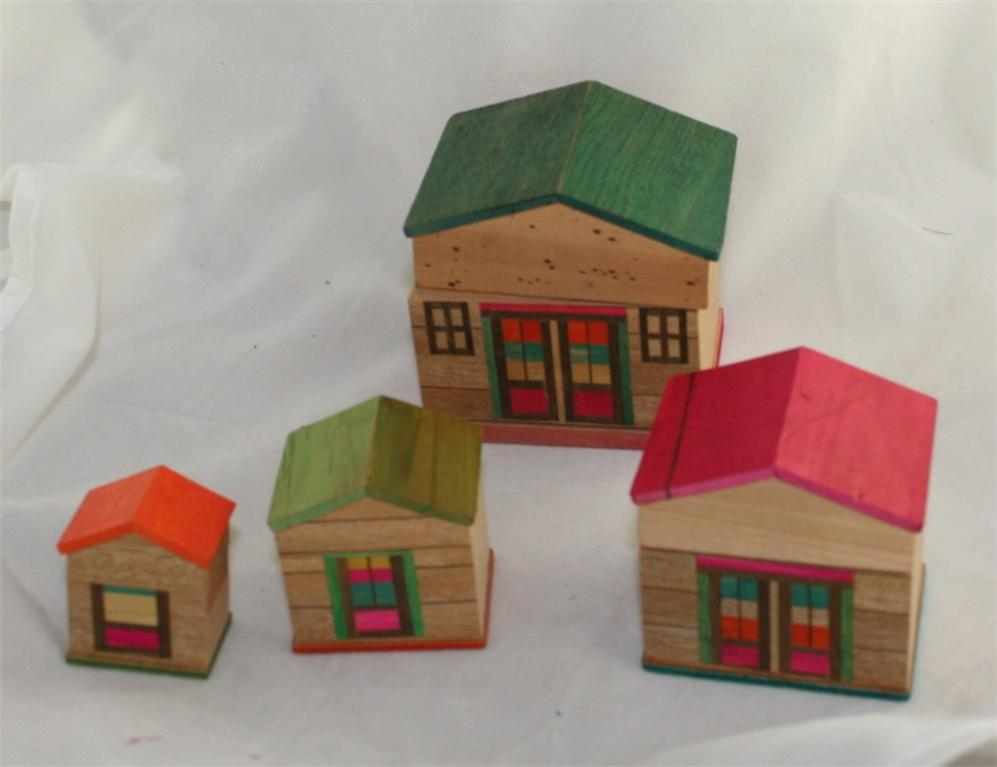 vintage,nesting boxes, Japan,houses,wood,painted, stained