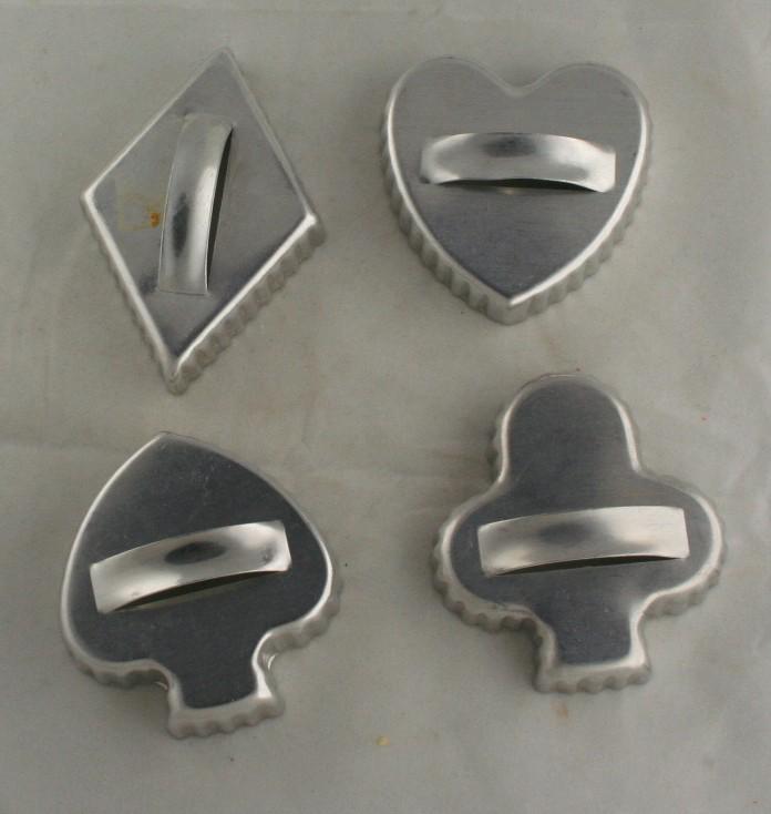 vintage aluminum, cookie cutters, card suits,diamond,club,heart,spade