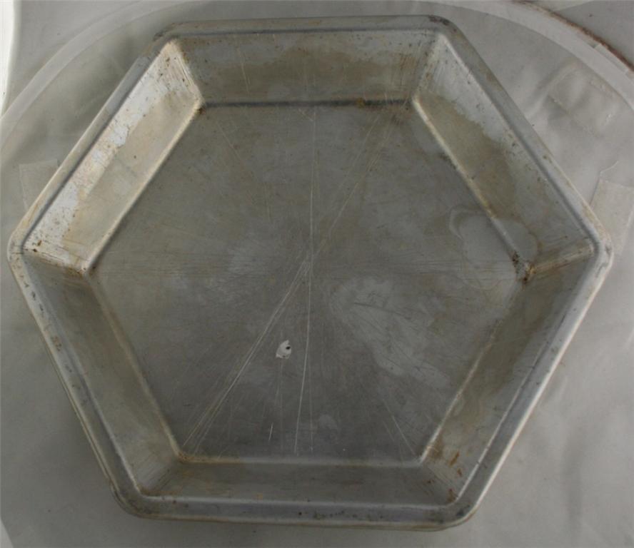vintage aluminum, pie plates, hexagonal