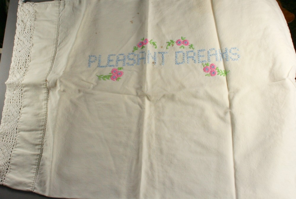 vintage pillowcase, embroidered, small