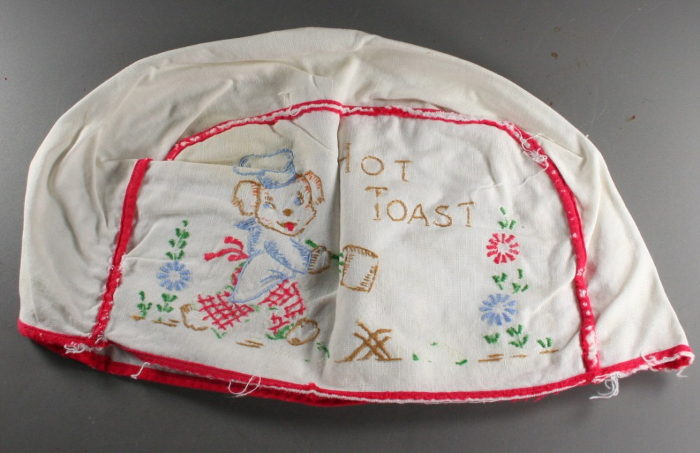 vintage appliance cover, toaster, cover, puppy,embroidered