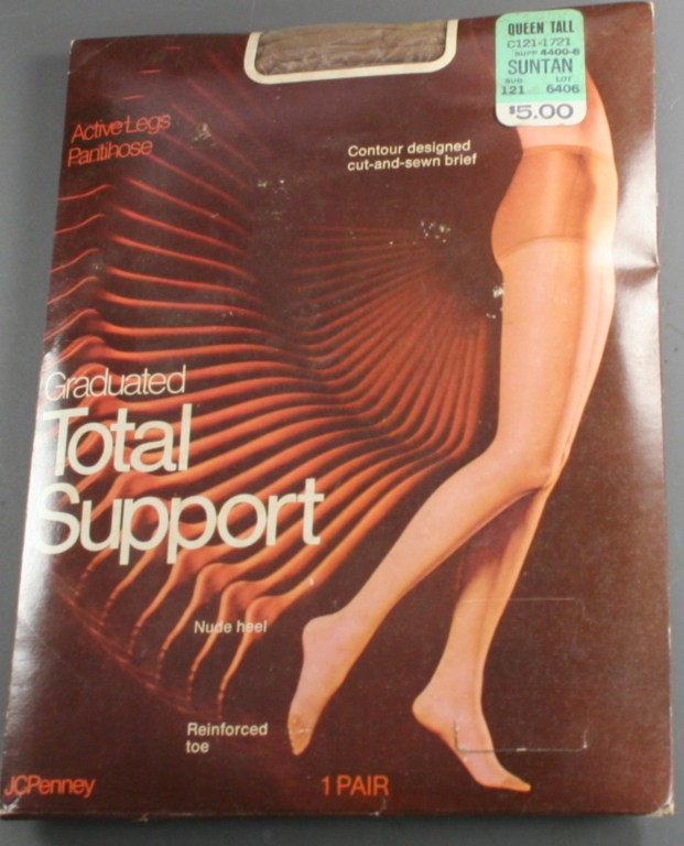 vintage nylons,pantyhose,60s,plus,large,queen,support, reinforced toe
