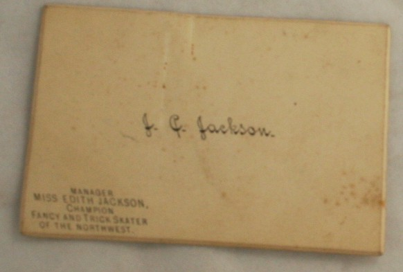 vintage calling card, manager,figure skating champion, Edith Jackson, Northwest
