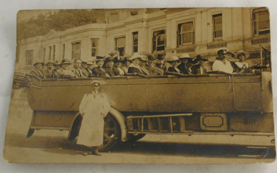vintage postcard, RPPC,real photo, Bournemouth,England,1919,touring car,driver