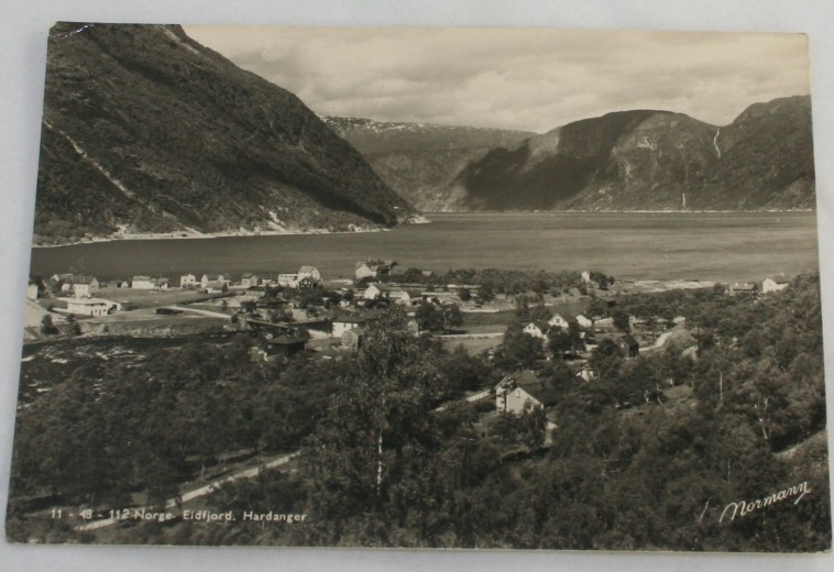 vintage postcard, RPPC,real photo, Eidfjord,Hardanger,Norway,1950,landscape