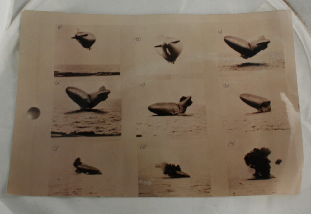 vintage photo, K type airship, crash, carrier,sequence