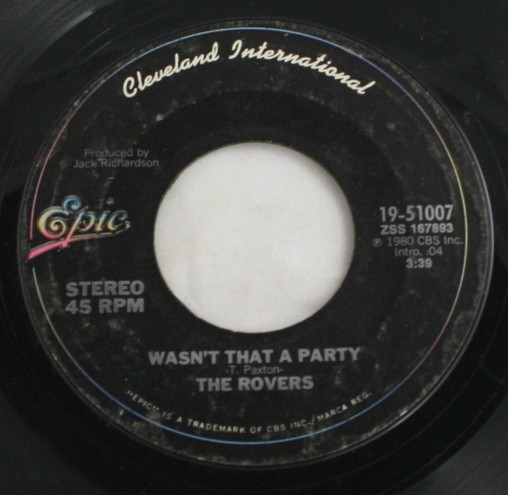 vintage 45,vinyl,Epic Records,The Rovers,Wasn't That a Party,Matchstick Men and Matchstick Cats and Dogs,1980