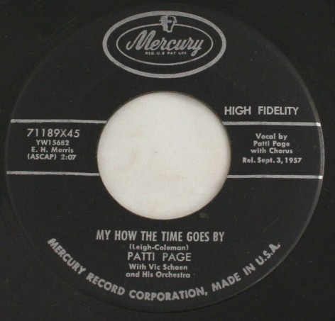 vintage record,45,vinyl,Patti Page,My How The Time Goes By,Mercury Records