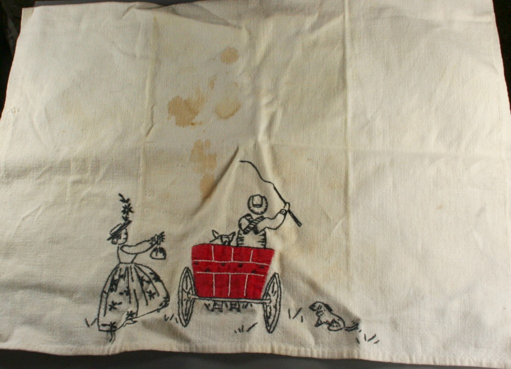 vintage kitchen, towel,linen,blackwork,applique