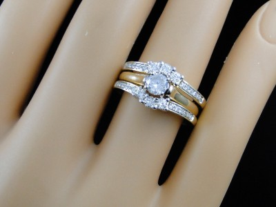 14k Yellow Gold Solitaire Jacket Guard Enhancer Engagement